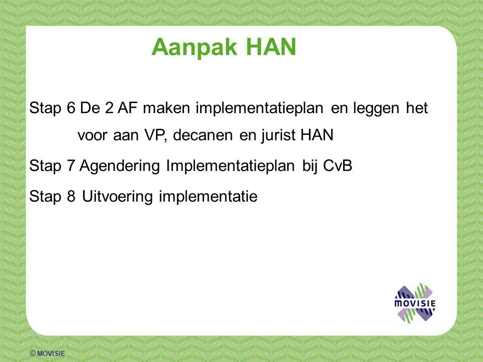 Aanpak HAN Stap 6 De 2 AF maken implementatieplan en leggen het voor aan VP, decanen en jurist HAN.