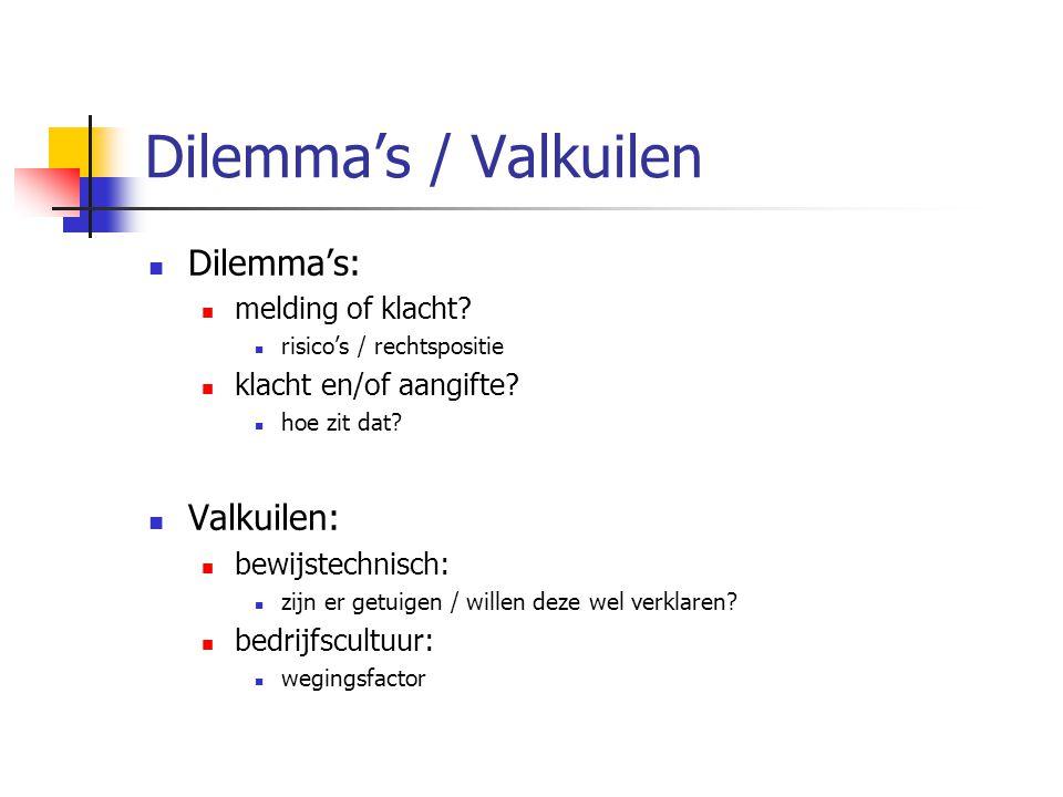 Dilemma's / Valkuilen Dilemma's: Valkuilen: melding of klacht