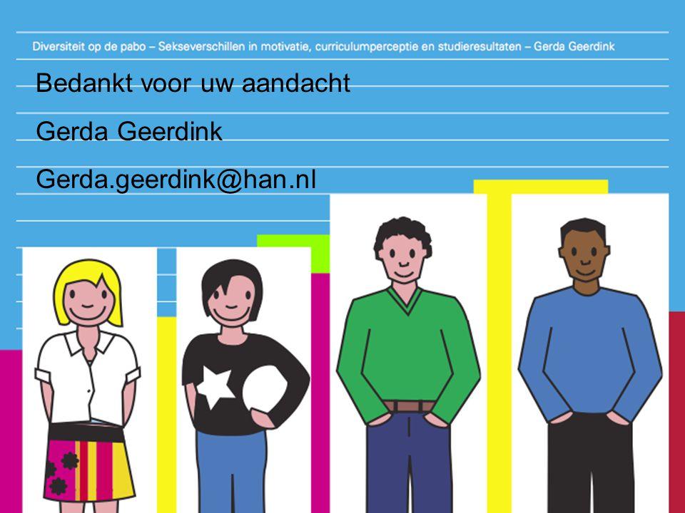 Bedankt voor uw aandacht Gerda Geerdink Gerda.geerdink@han.nl