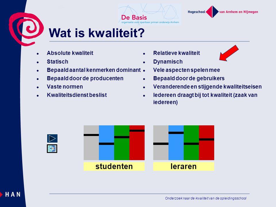 Wat is kwaliteit studenten school x school y leraren