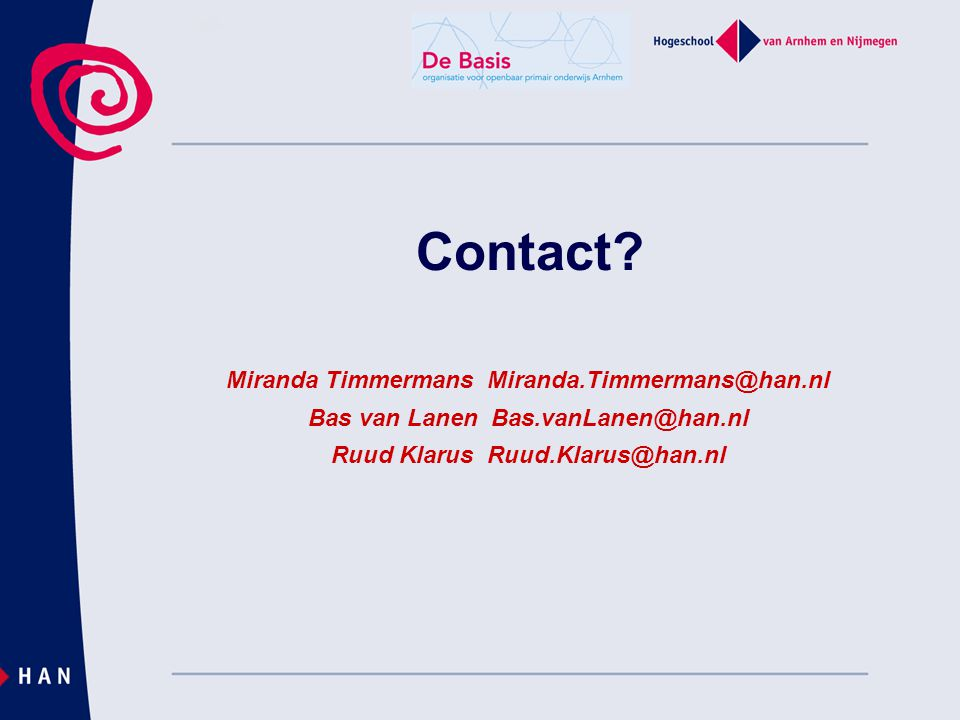 Contact Miranda Timmermans Miranda.Timmermans@han.nl