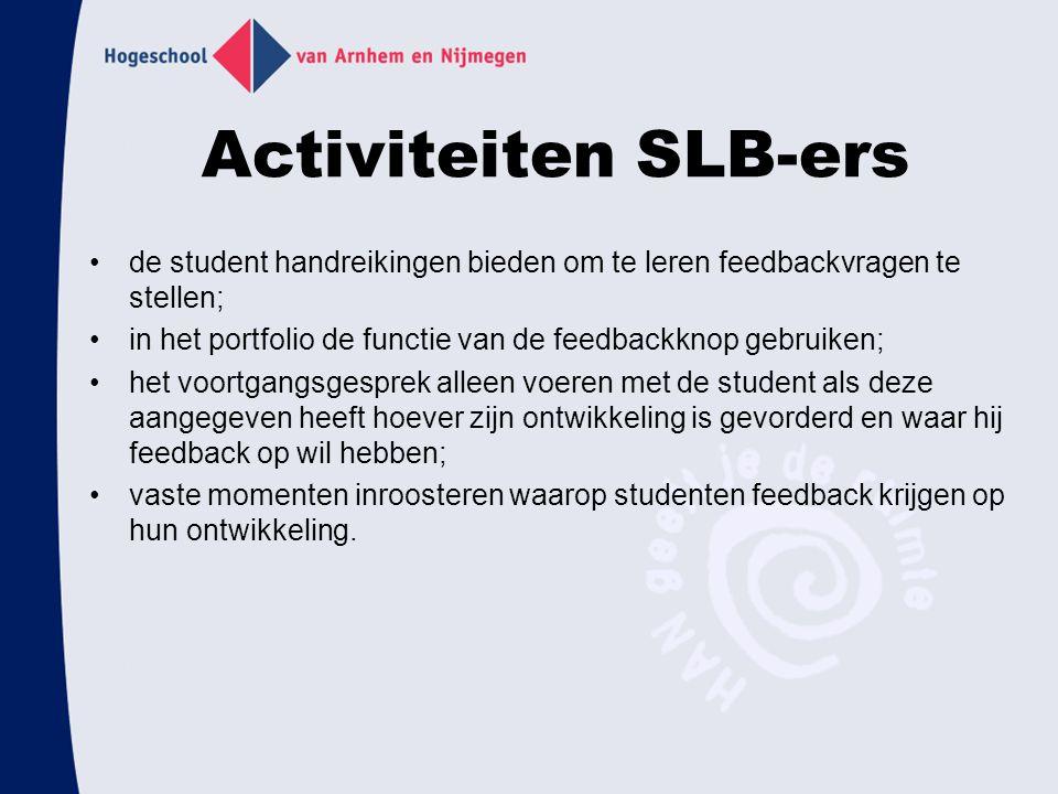 Activiteiten SLB-ers de student handreikingen bieden om te leren feedbackvragen te stellen;