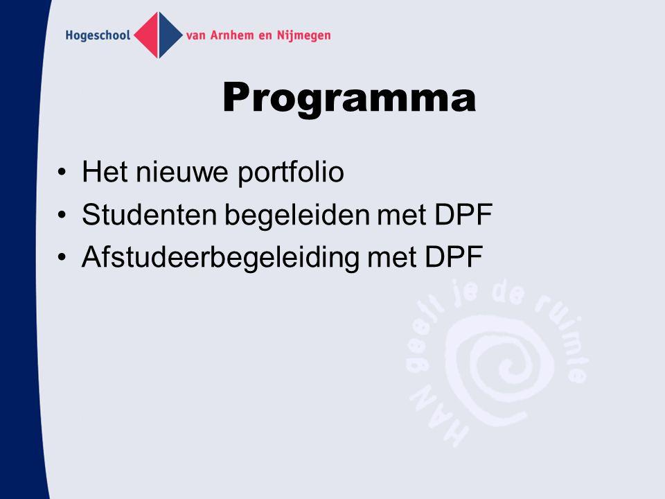 Programma Het nieuwe portfolio Studenten begeleiden met DPF