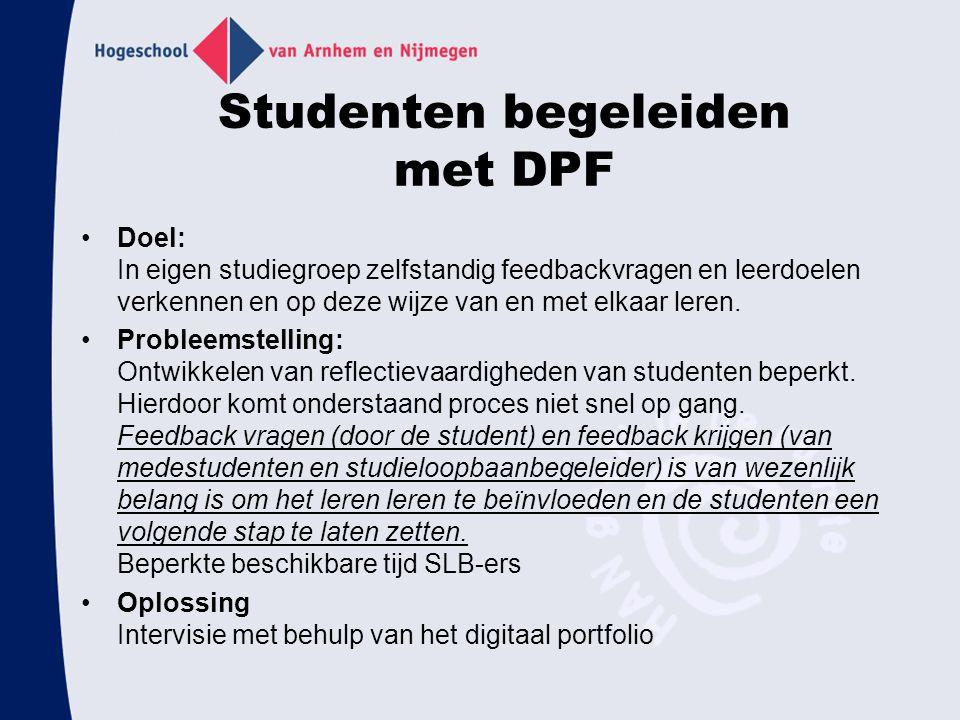 Studenten begeleiden met DPF