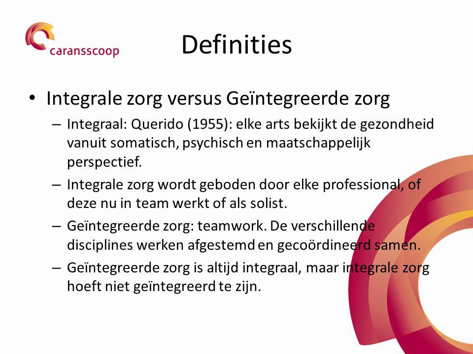 Definities Integrale zorg versus Geïntegreerde zorg