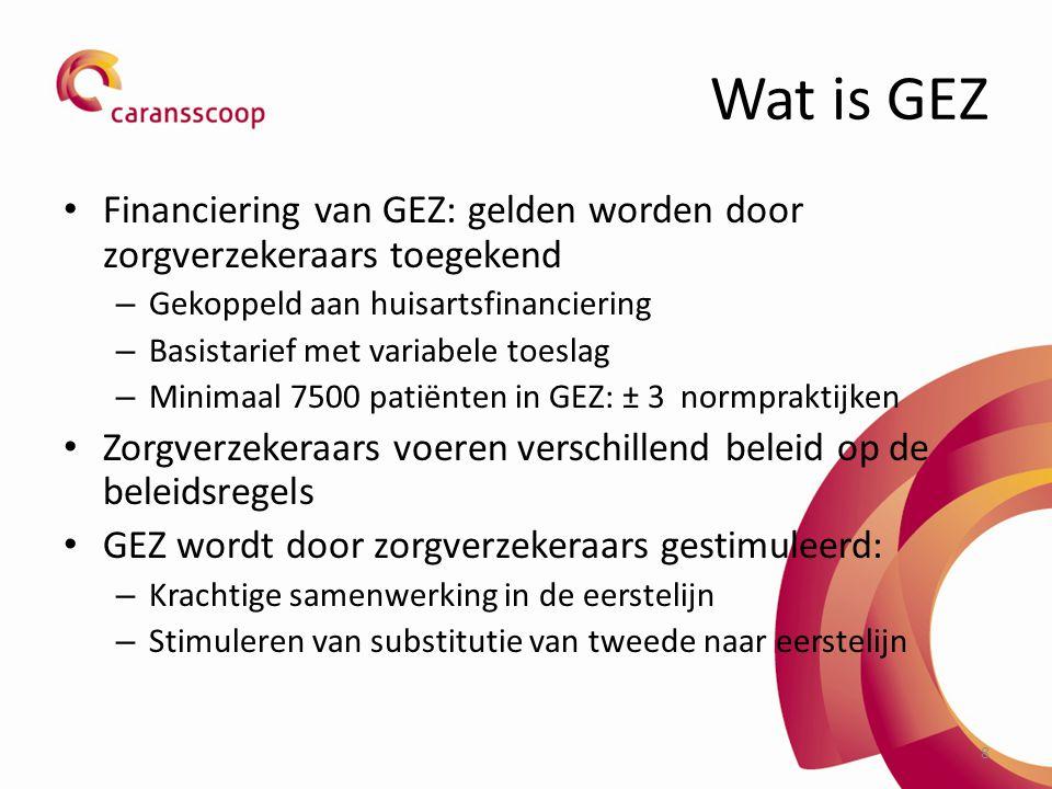 Wat is GEZ Financiering van GEZ: gelden worden door zorgverzekeraars toegekend. Gekoppeld aan huisartsfinanciering.