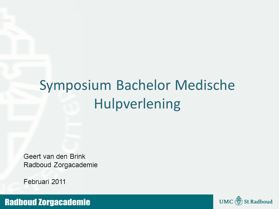 Symposium Bachelor Medische Hulpverlening