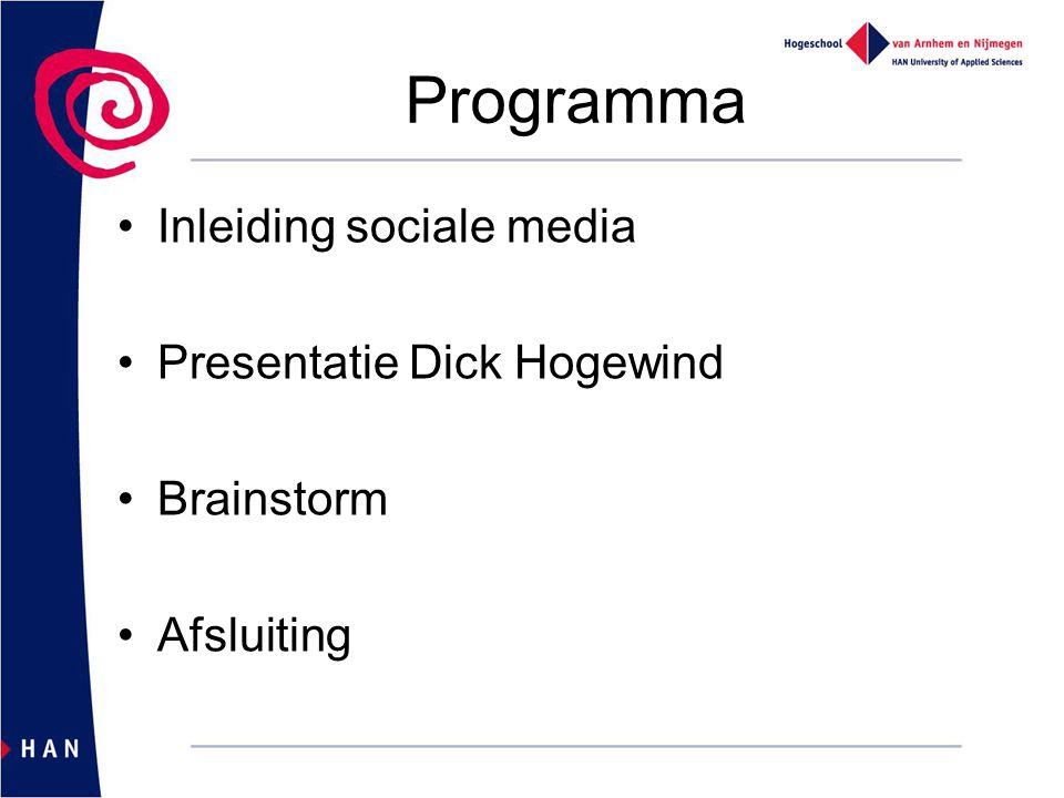 Programma Inleiding sociale media Presentatie Dick Hogewind Brainstorm