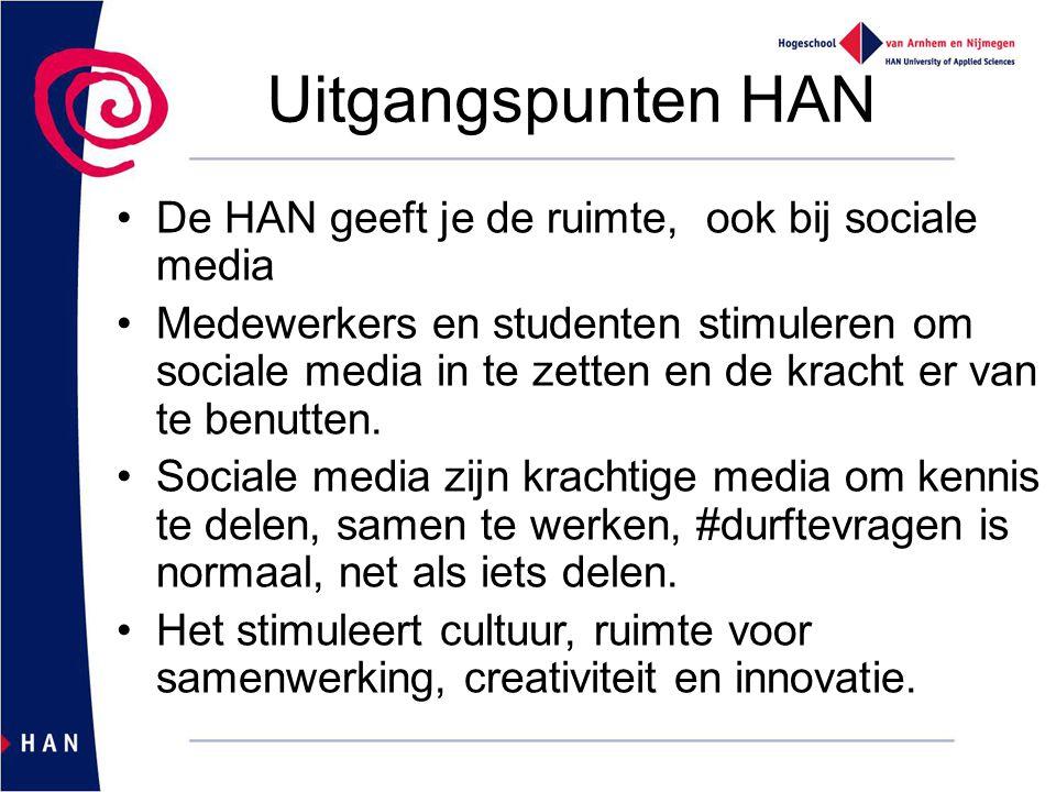 Uitgangspunten HAN De HAN geeft je de ruimte, ook bij sociale media