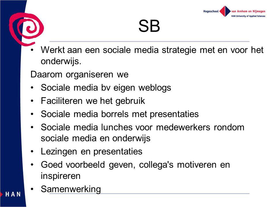 SB Werkt aan een sociale media strategie met en voor het onderwijs.