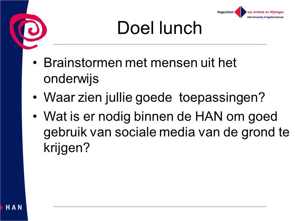 Doel lunch Brainstormen met mensen uit het onderwijs