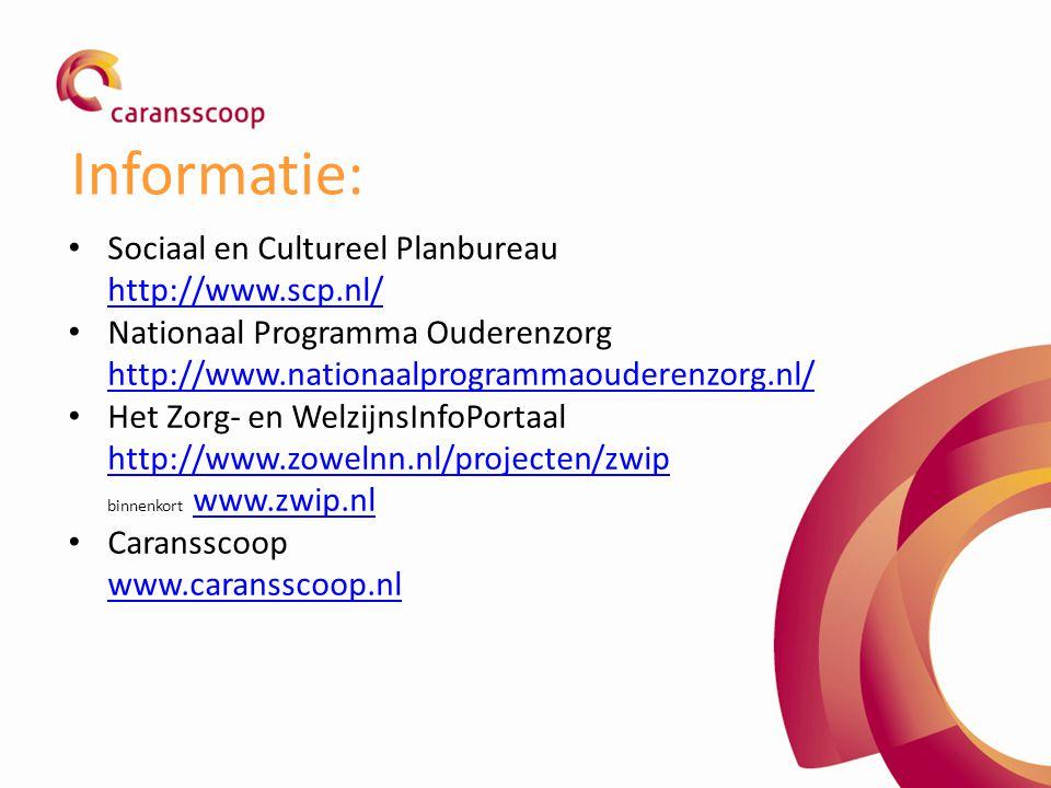 Informatie: Sociaal en Cultureel Planbureau http://www.scp.nl/