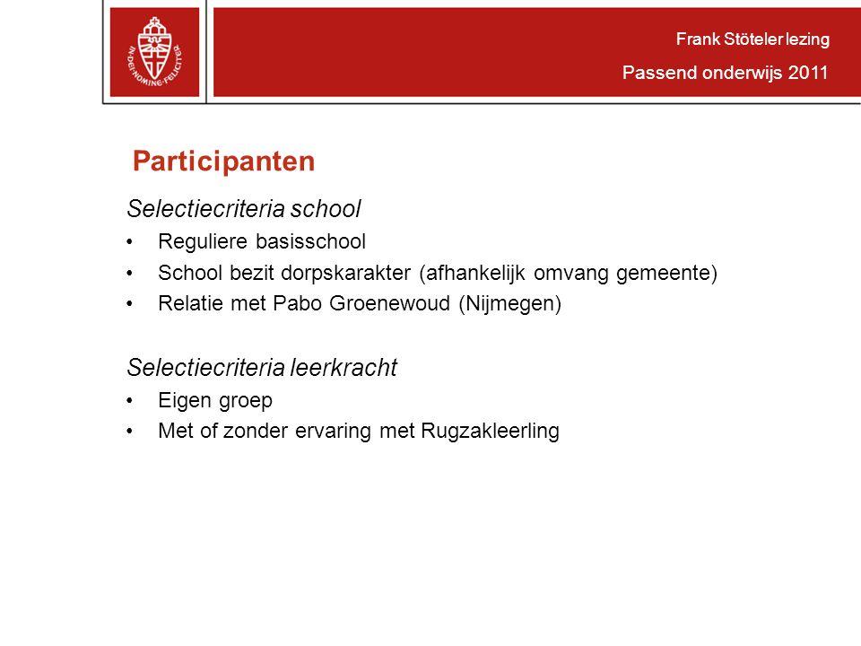 Participanten Selectiecriteria school Selectiecriteria leerkracht