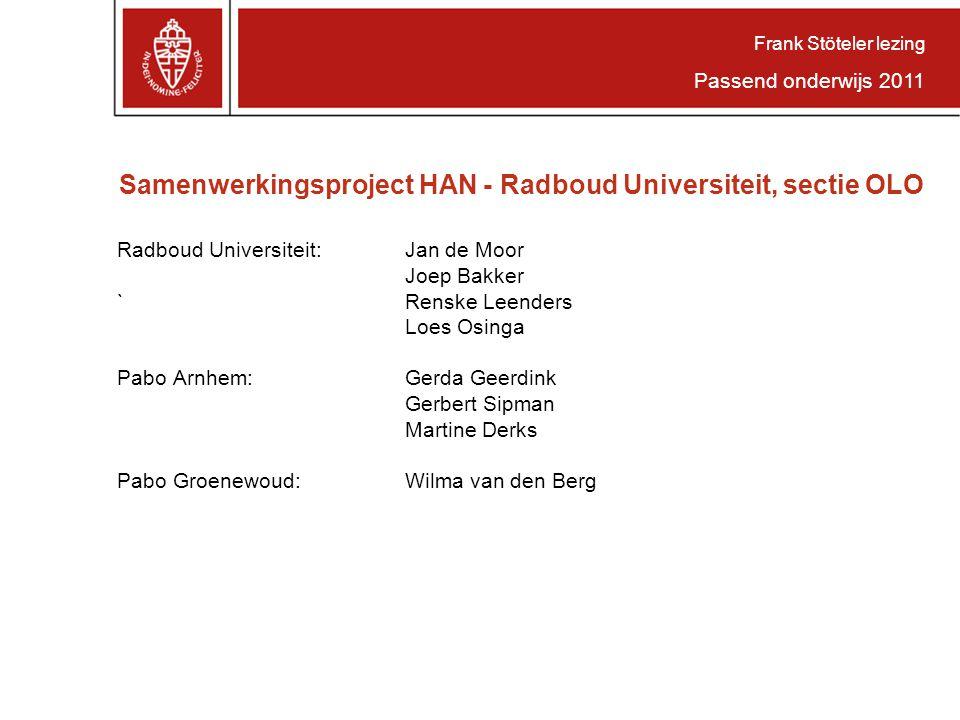 Frank Stöteler lezing Passend onderwijs 2011. Samenwerkingsproject HAN - Radboud Universiteit, sectie OLO.