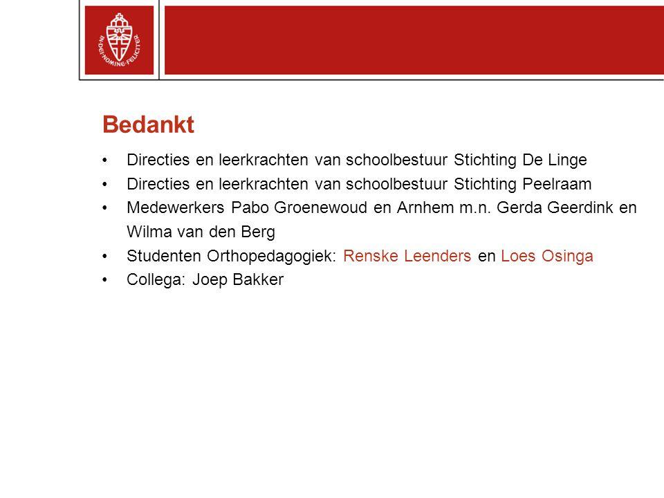 Bedankt Directies en leerkrachten van schoolbestuur Stichting De Linge