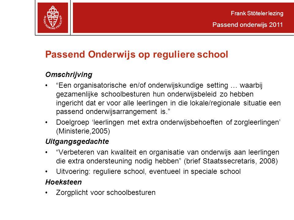 Passend Onderwijs op reguliere school
