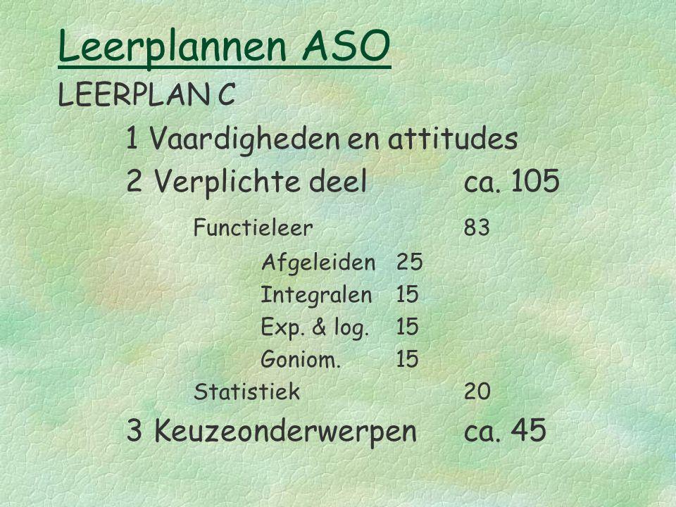 Leerplannen ASO LEERPLAN C 1 Vaardigheden en attitudes