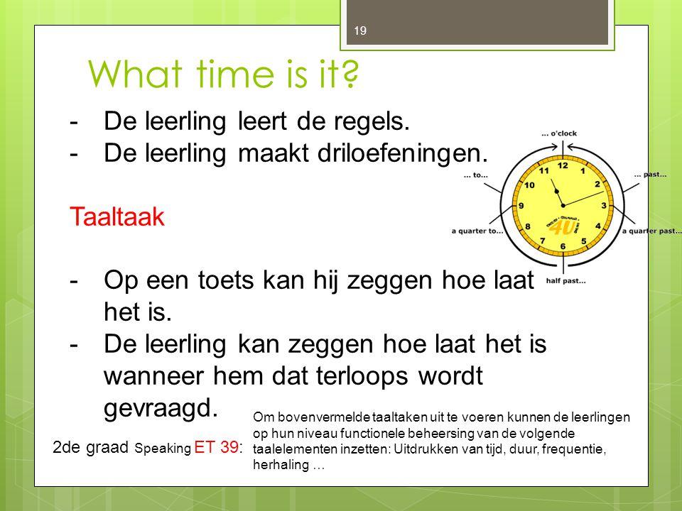 What time is it De leerling leert de regels.