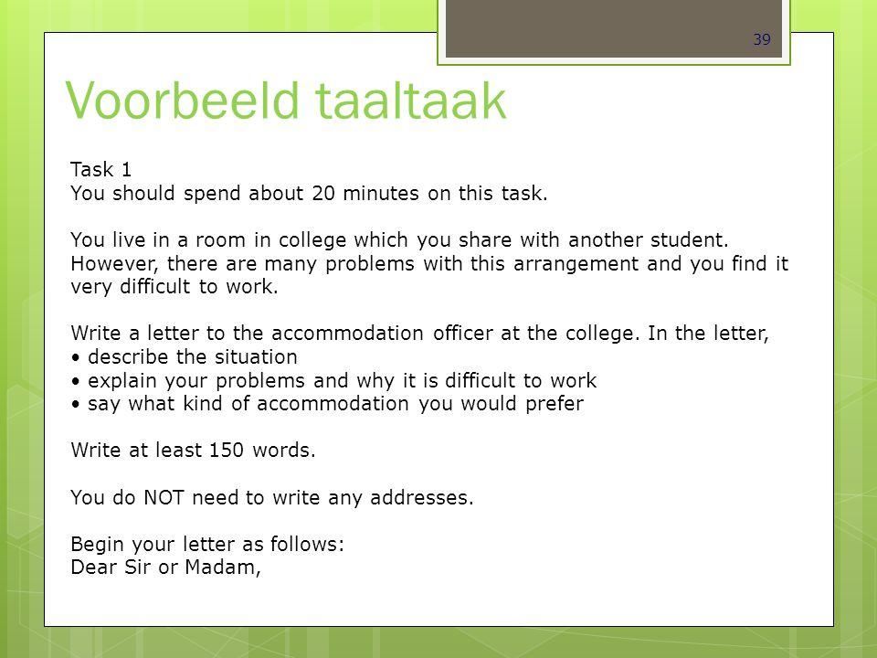 Voorbeeld taaltaak Task 1