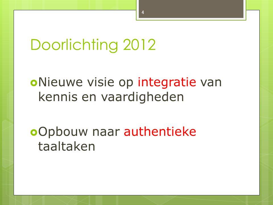 Doorlichting 2012 Nieuwe visie op integratie van kennis en vaardigheden.