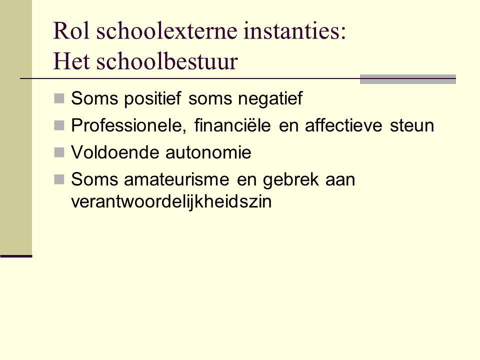 Rol schoolexterne instanties: Het schoolbestuur