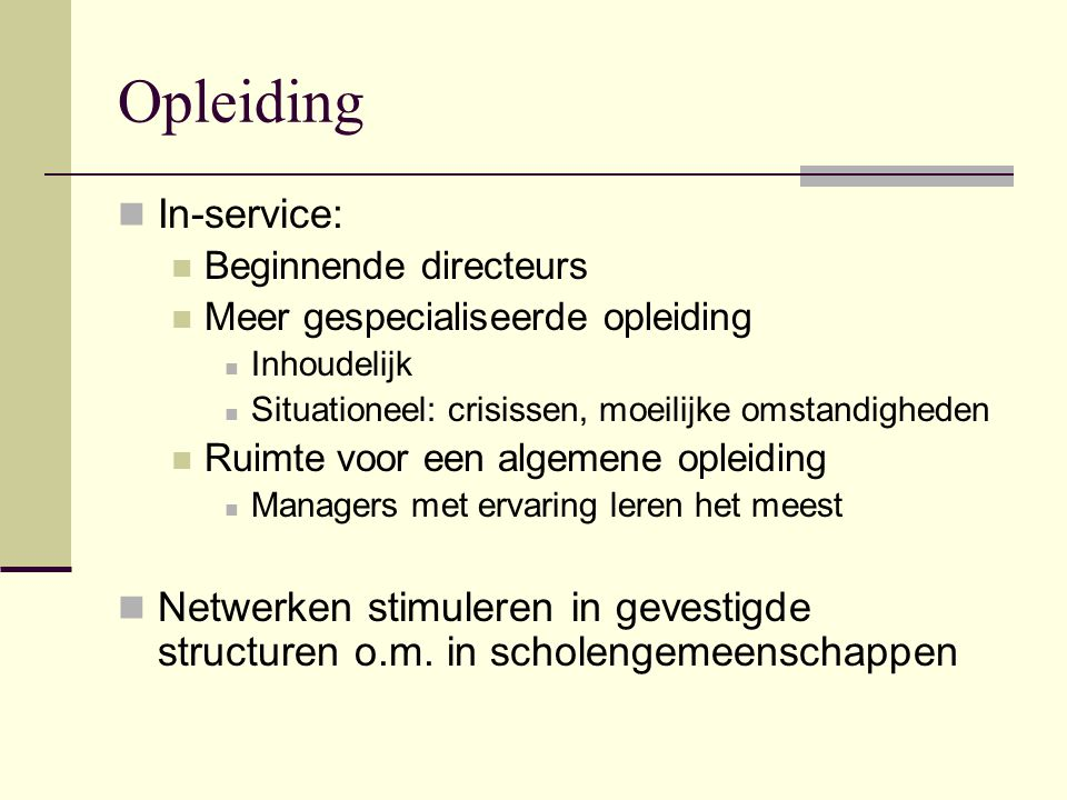 Opleiding In-service: