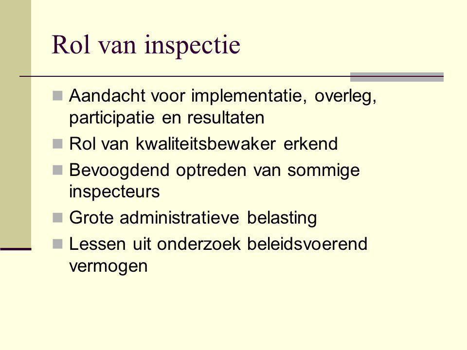 Rol van inspectie Aandacht voor implementatie, overleg, participatie en resultaten. Rol van kwaliteitsbewaker erkend.