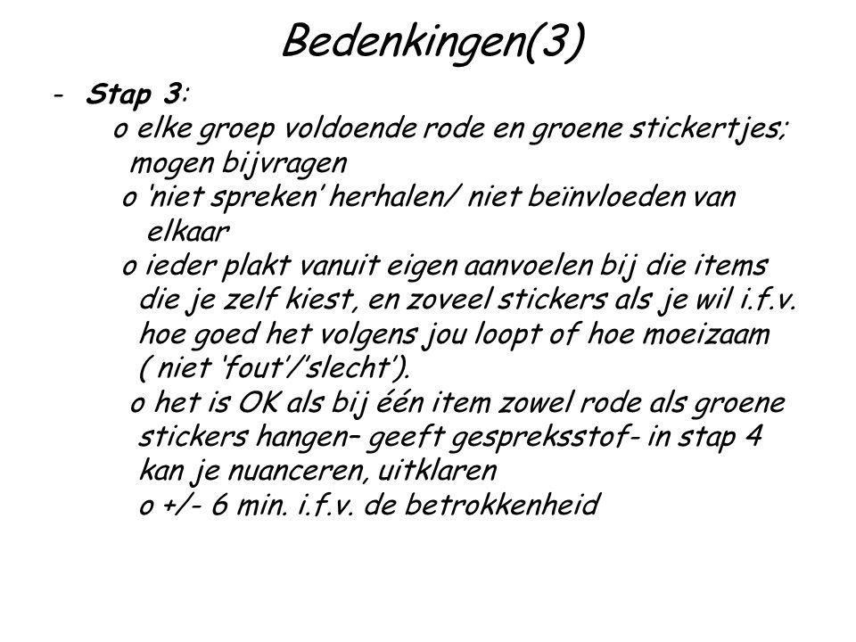 Bedenkingen(3) Stap 3: o elke groep voldoende rode en groene stickertjes; mogen bijvragen. o 'niet spreken' herhalen/ niet beïnvloeden van.