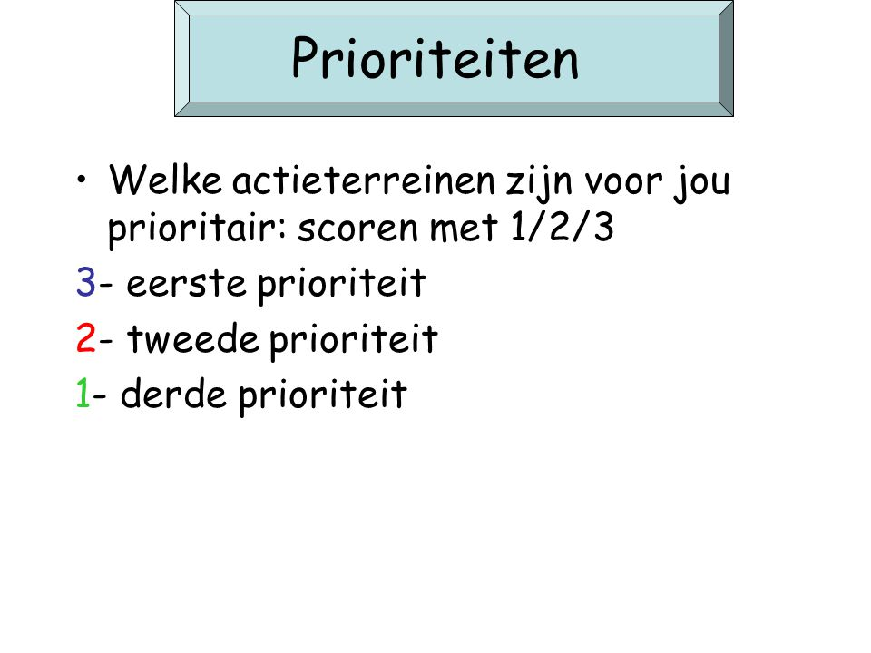 Prioriteiten Welke actieterreinen zijn voor jou prioritair: scoren met 1/2/3. 3- eerste prioriteit.