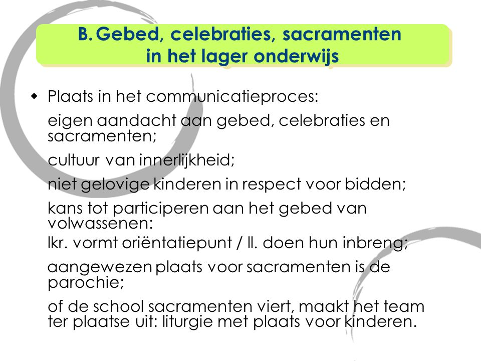 Gebed, celebraties, sacramenten