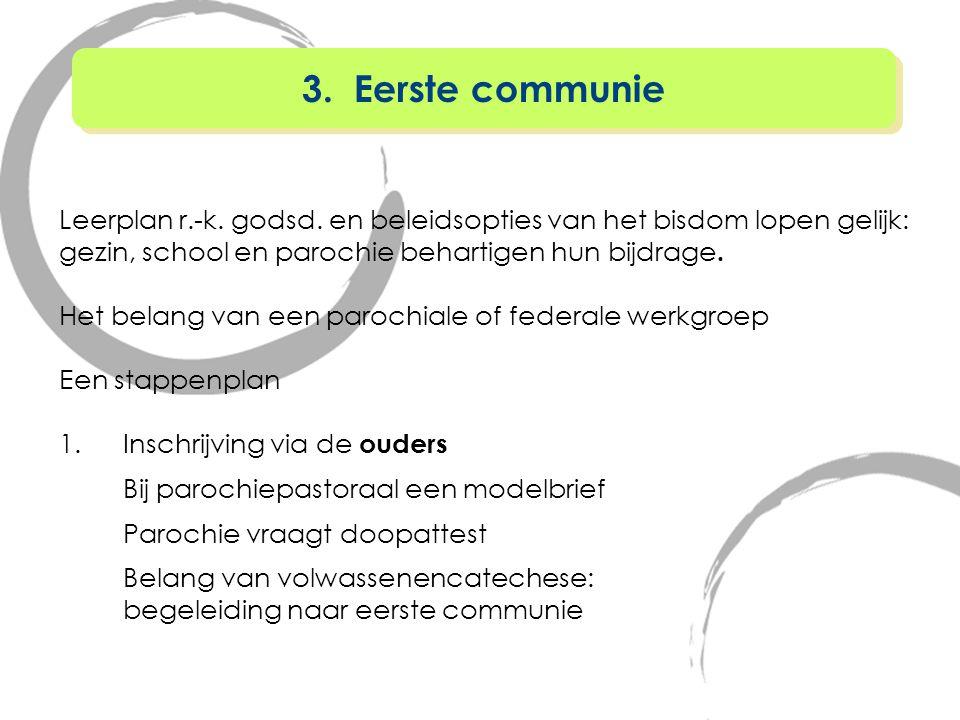 3. Eerste communie Leerplan r.-k. godsd. en beleidsopties van het bisdom lopen gelijk: gezin, school en parochie behartigen hun bijdrage.