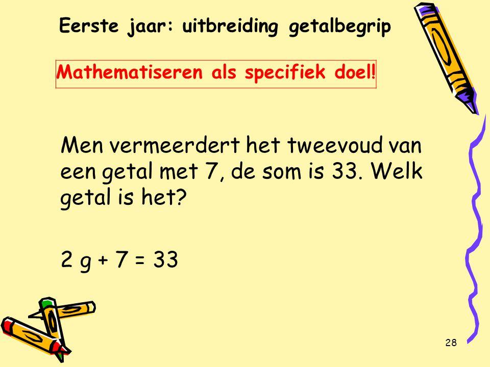 Eerste jaar: uitbreiding getalbegrip Mathematiseren als specifiek doel!
