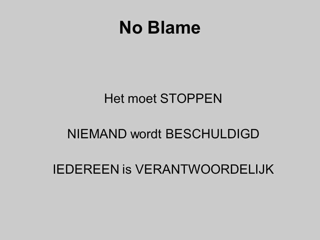 No Blame Het moet STOPPEN NIEMAND wordt BESCHULDIGD
