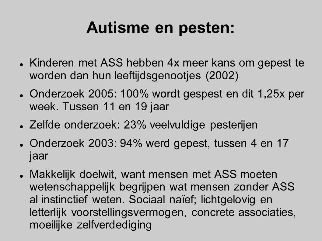 Autisme en pesten: Kinderen met ASS hebben 4x meer kans om gepest te worden dan hun leeftijdsgenootjes (2002)