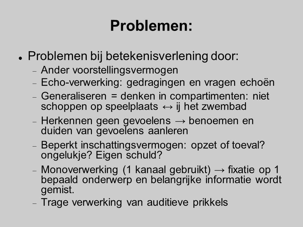 Problemen: Problemen bij betekenisverlening door: