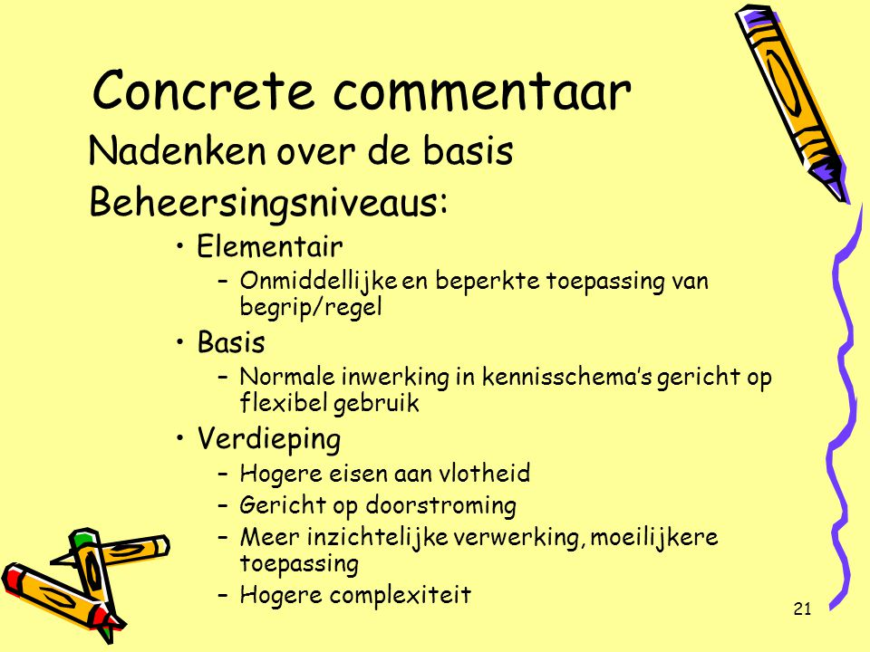 Concrete commentaar Nadenken over de basis Beheersingsniveaus: