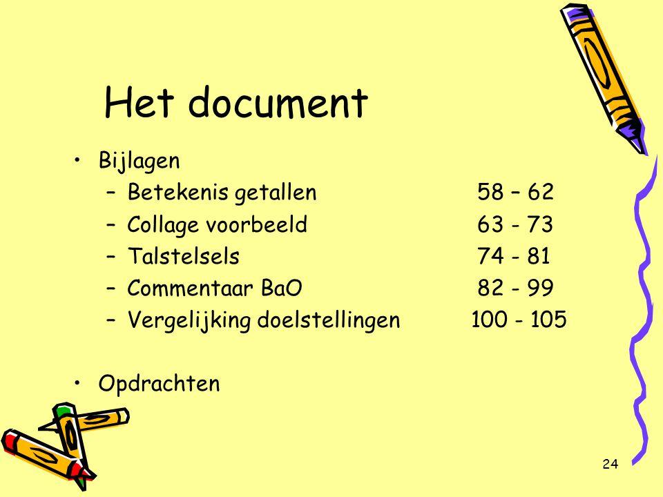 Het document Bijlagen Betekenis getallen 58 – 62