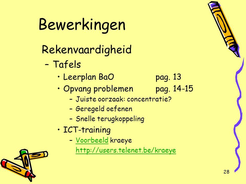 Bewerkingen Rekenvaardigheid Tafels Leerplan BaO pag. 13
