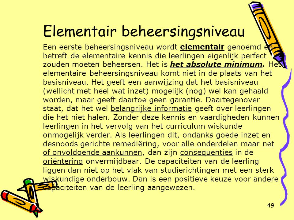 Elementair beheersingsniveau