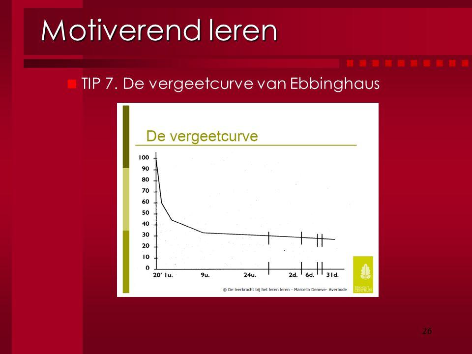 Motiverend leren TIP 7. De vergeetcurve van Ebbinghaus 26