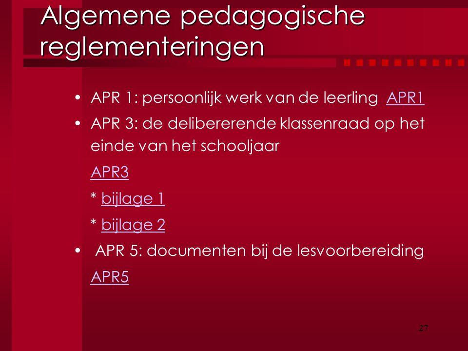 Algemene pedagogische reglementeringen