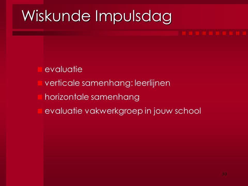 Wiskunde Impulsdag evaluatie verticale samenhang: leerlijnen