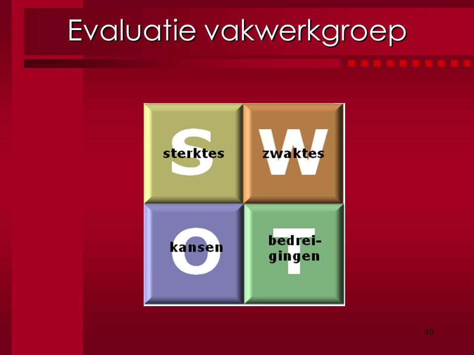 Evaluatie vakwerkgroep