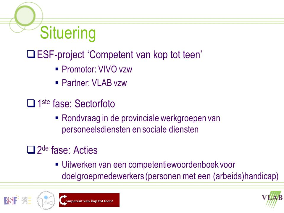 Situering ESF-project 'Competent van kop tot teen'
