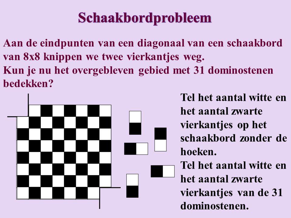 We kleuren het schaakbord zwart/wit zoals gebruikelijk en ook de dominostenen.