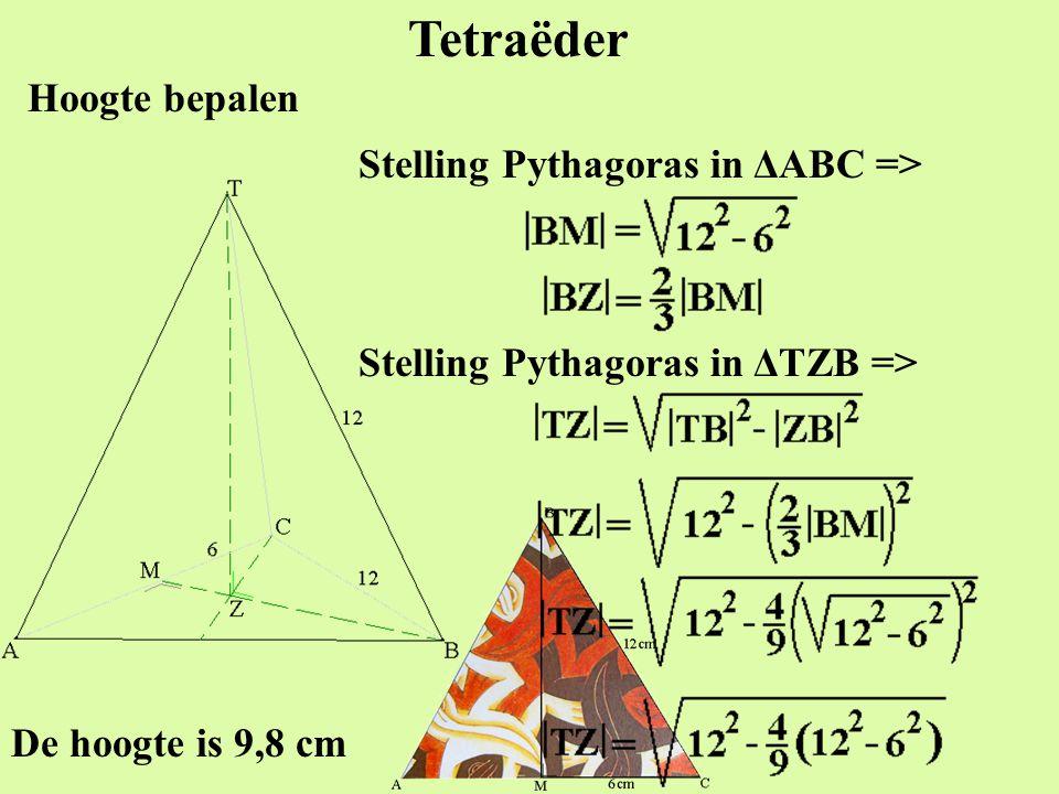 Tetraëder Hoogte bepalen Stelling Pythagoras in ΔABC =>