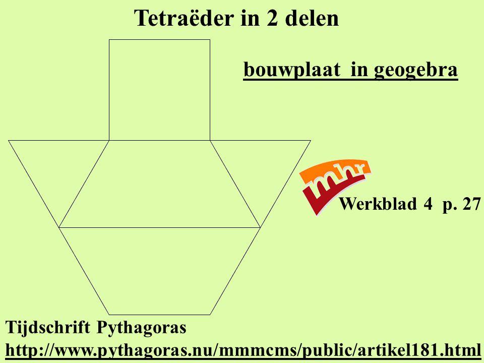 Tetraëder in 2 delen bouwplaat in geogebra Werkblad 4 p. 27
