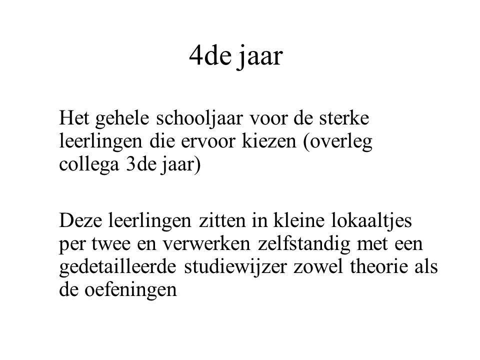 4de jaar Het gehele schooljaar voor de sterke leerlingen die ervoor kiezen (overleg collega 3de jaar)