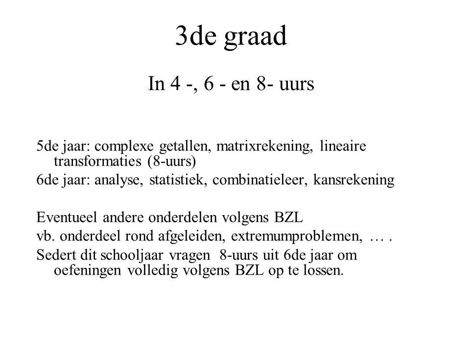 3de graad In 4 -, 6 - en 8- uurs. 5de jaar: complexe getallen, matrixrekening, lineaire transformaties (8-uurs)