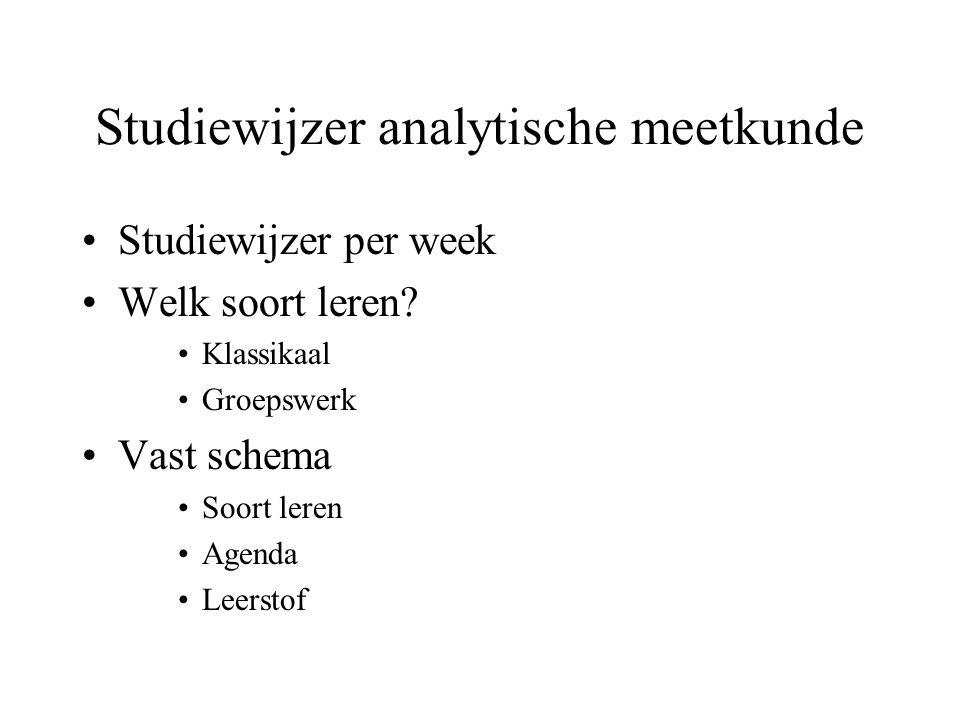 Studiewijzer analytische meetkunde